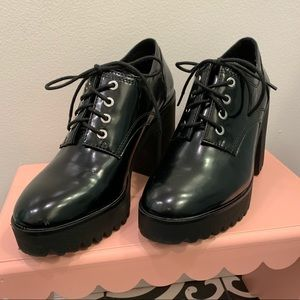Zara Trafaluc lace up platform patent booties